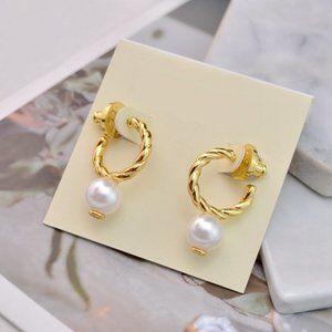Tory Burch Golden Braided Pearl Earrings